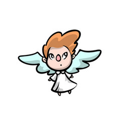 cute small kid angel red hair color vector image