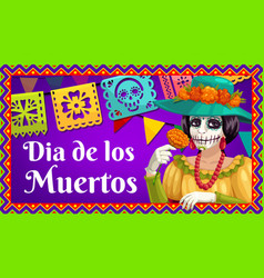 dia de los muertos catrina with marigold and flags vector image