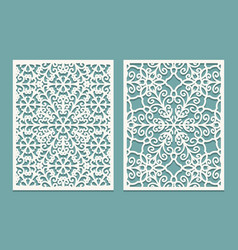 Die and laser cut scenical panels with snowflakes vector