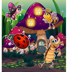 Different insects near the mushroom house vector