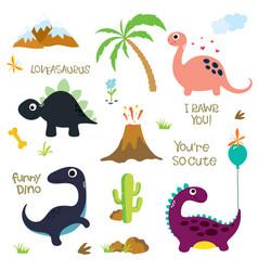 dinosaur footprint volcano palm tree stones bone vector image