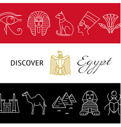 discover egypt concept banner with popular symbols vector image