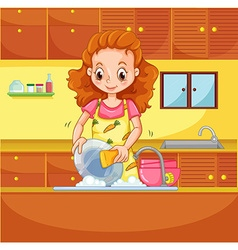 Doing dishes vector image