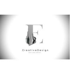 E letter design brush paint stroke black e letter vector