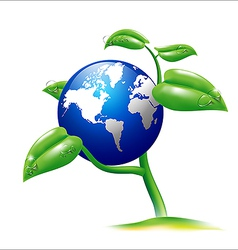 Earth and small plant vector image