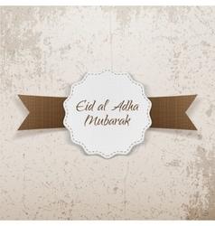 Eid al-adha mubarak paper emblem vector