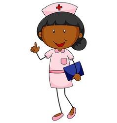 Female nurse in uniform holding file vector image