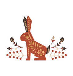 Festive square easter card with rabbit floral vector