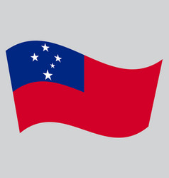 Flag of samoa waving on gray background vector
