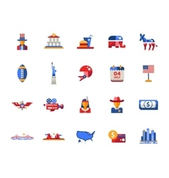 Flat design USA travel icons infographics vector