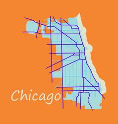 Flat map chicago city illinois roads vector