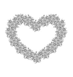 flowers heart shape frame vector image