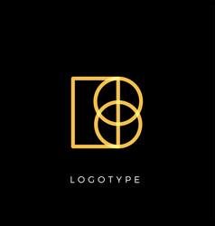 Geometric shape letter b line monogram vector