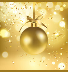 golden christmas ball and golden confetti vector image
