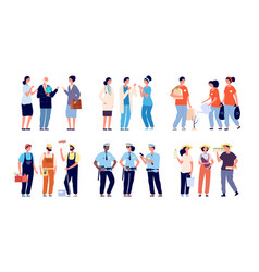 groups professionals essential workers social vector image