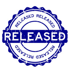 grunge blue released round rubber seal stamp on vector image