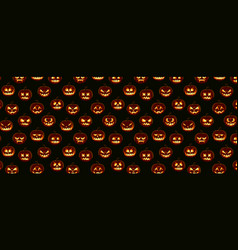 Halloween pattern pumpkin emotion faces vector