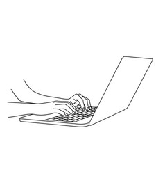 Hand drawing woman hands typing in a laptop vector