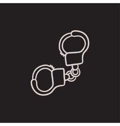 Handcuffs sketch icon vector image