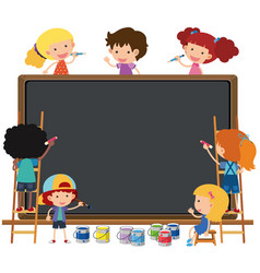 Happy children writing on chalkboard vector