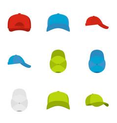 helmet icons set flat style vector image