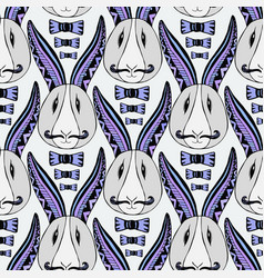 Hipster rabbits pattern zentangle creative vector
