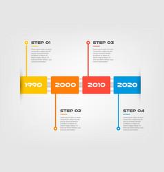 horizontal steps timeline infographics a rectangle vector image