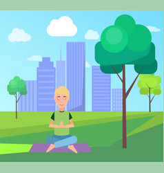 man and meditation at park vector image