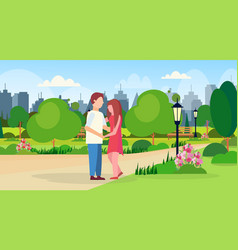 man woman embracing walking together city public vector image