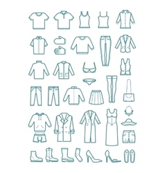 Mens and womens clothes thin line icons vector