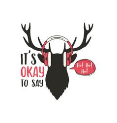 merry christmas card vintage hand drawn deer head vector image