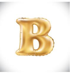 Metallic gold b balloons golden letter new year vector