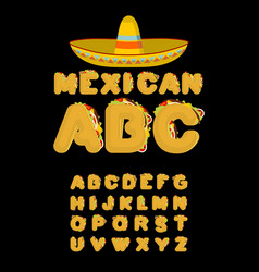 Mexican font tacos alphabet taco fast food abc vector