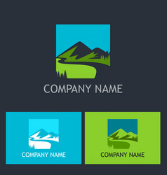 Mountain lake company logo vector