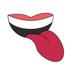 Mouth with tongue out cartoon vector