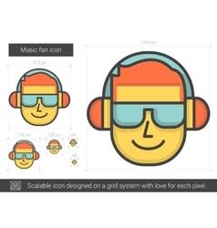 Music fan line icon vector