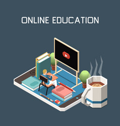 Online education isometric background vector