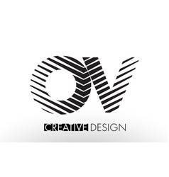 ov o v lines letter design with creative elegant vector image
