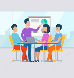 people on conference whiteboard with information vector image