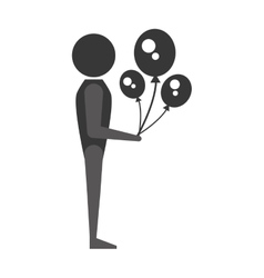 person with balloons icon design vector image
