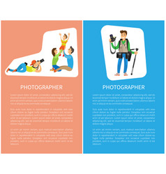Photographer taking pictures happy family posters vector