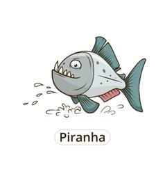 Piranha fish cartoon vector image