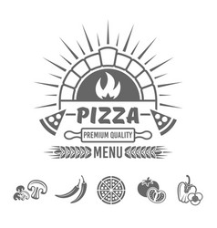 pizza menu monochrome emblem or label vector image
