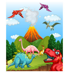Prehistoric landscape scene with various dinosaurs vector
