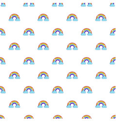 rainbow with clouds pattern vector image