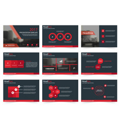 Red abstract presentation templates infographic vector
