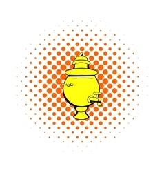 Samovar icon in comics style vector image