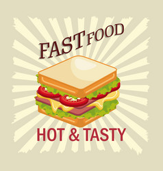 sandwich fast food design isolated vector image