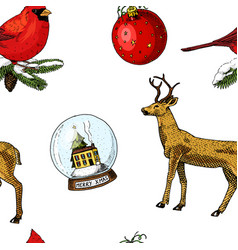 seamless pattern deer and snow globe red cardinal vector image