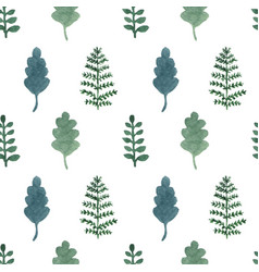 seamless pattern with watercolor hand draw leaves vector image